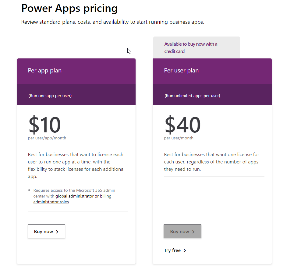 power apps pricing sheet