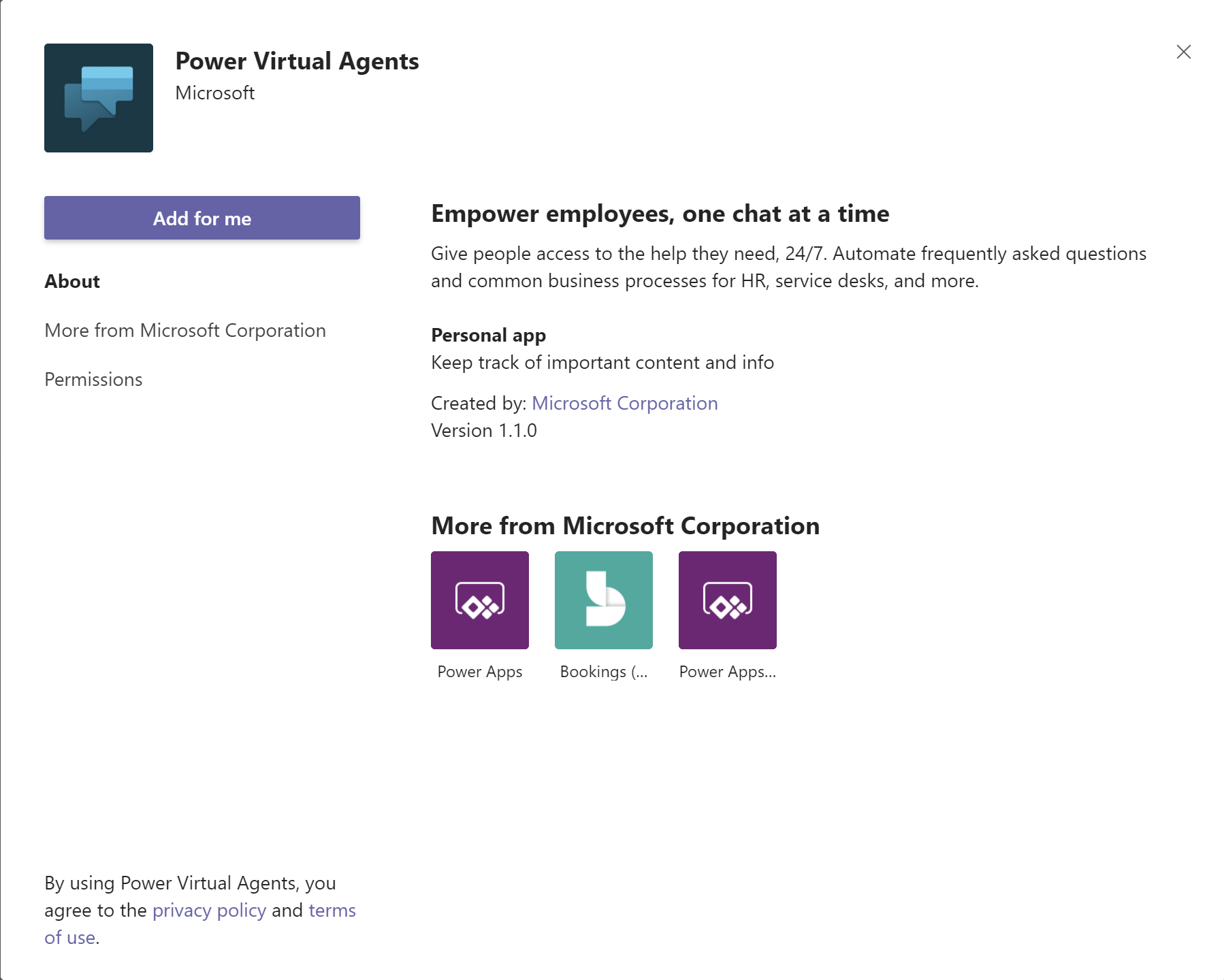Add the Power Virtual Agents app.