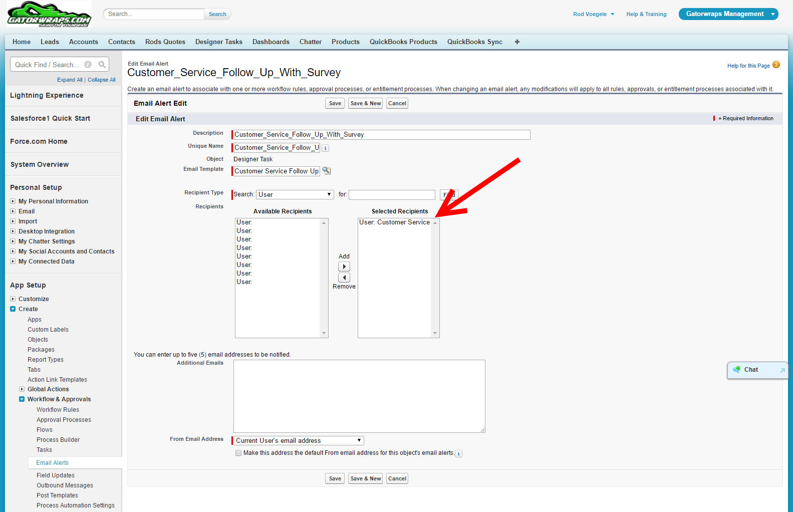 How can we add a customer's email address as a recipient in the Email Alerts  under Workflow Rules? - Salesforce Developer Community