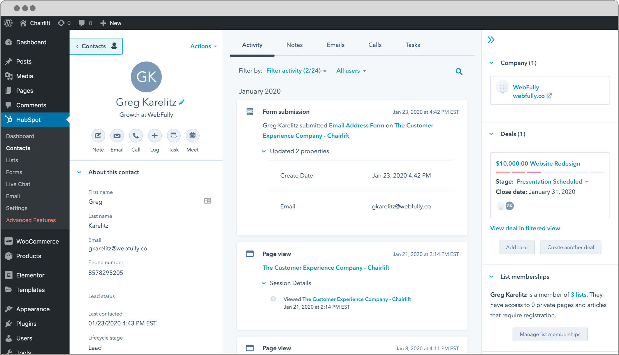 WordPress Plugin: CRM, Forms, Live Chat, Email, & Analytics