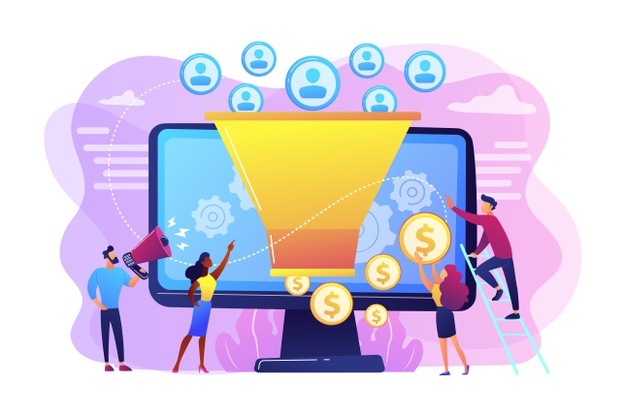 Monetization tips. increasing conversion rates strategy. attracting followers. generating new leads, identify your customers, smm strategies concept. Free Vector