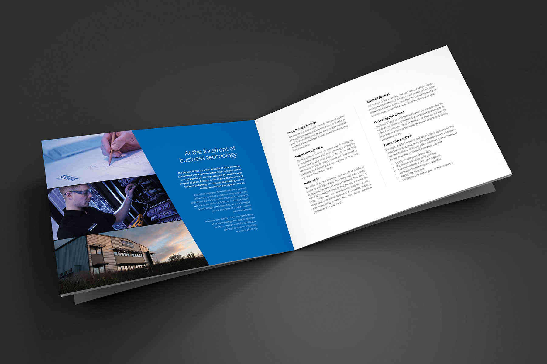 Brochure design pages for Remark branding