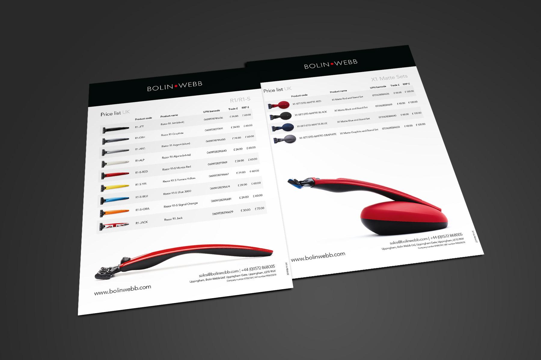Price list design for Bolin Webb branding