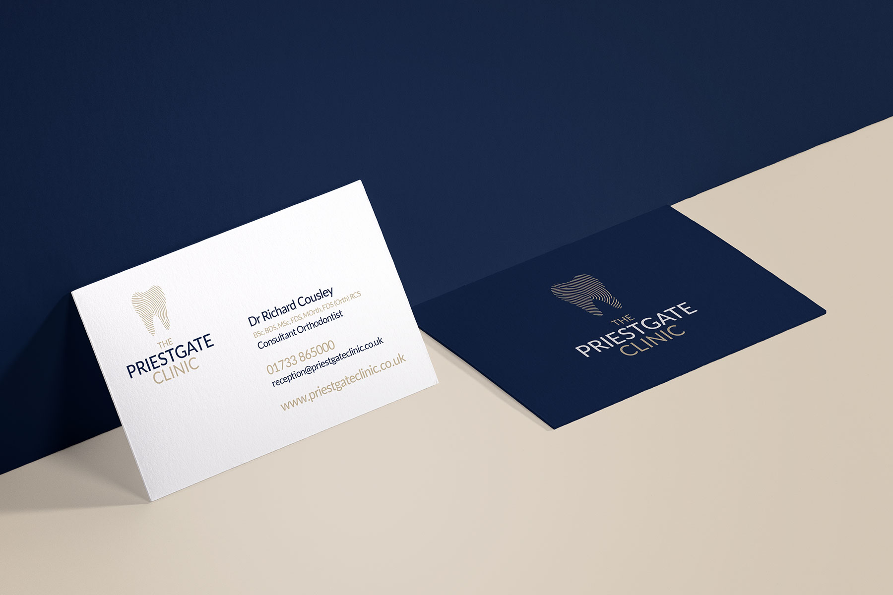 Business cards for Priestgate Clinic branding