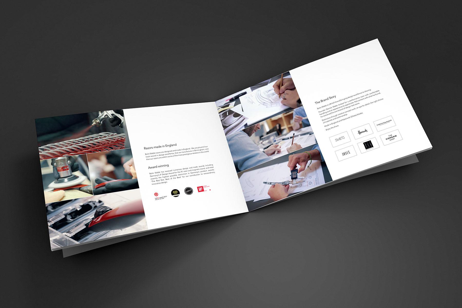 Brochure design pages for Bolin Webb branding