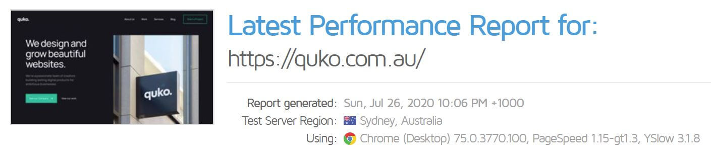 Quko Studio Website Performance Report GTmetrix