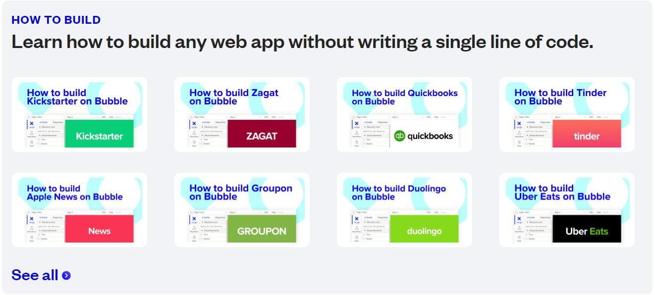 Bubble.io how to build tutorials