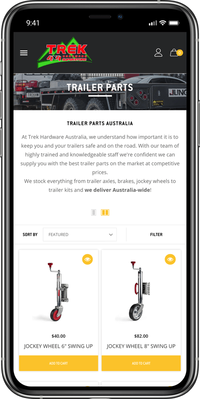 Trek Hardware eCommerce website loaded on mobile