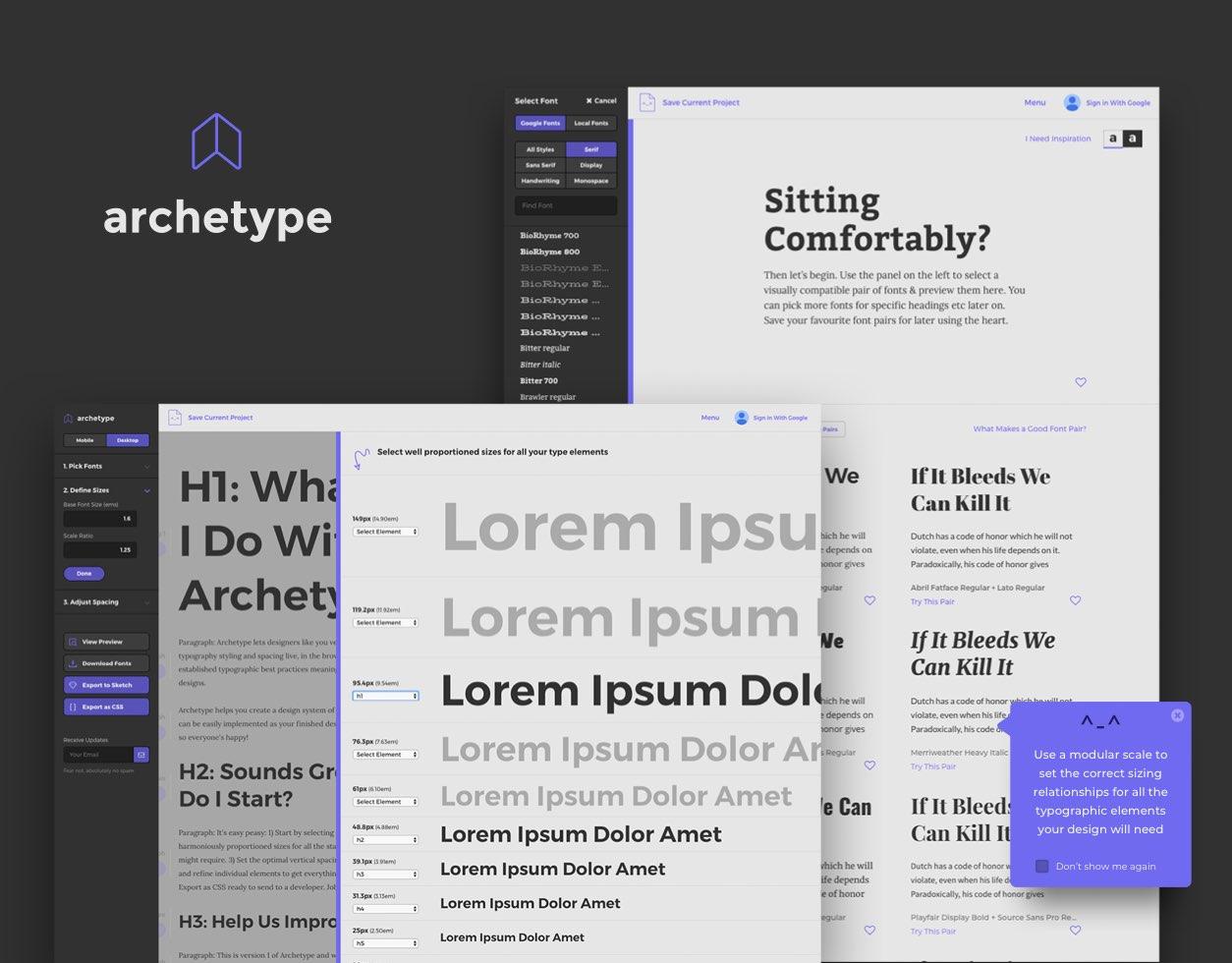 Archetype typography designer
