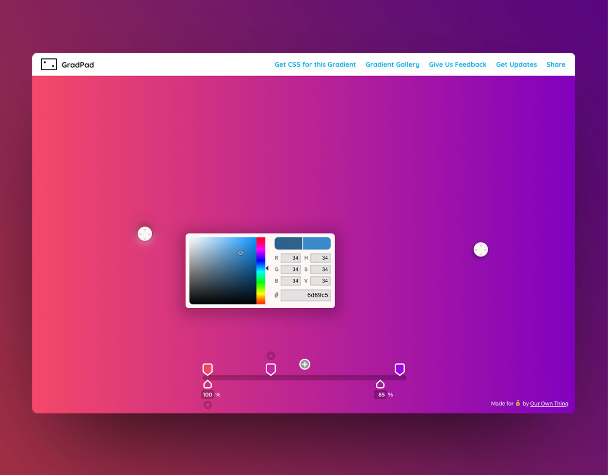 Grad Pad CSS gradient generator