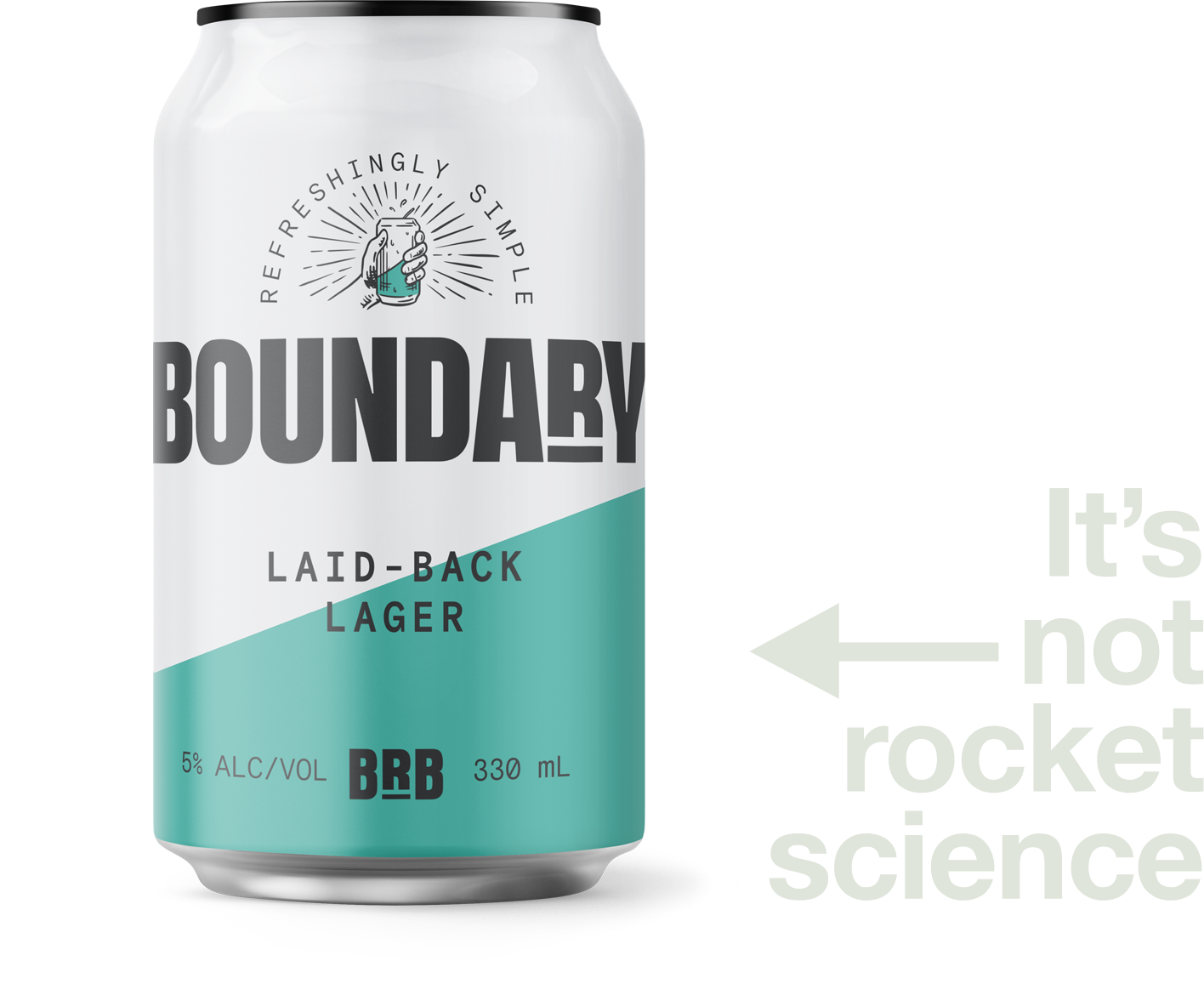 A can of the Boundary Laid-back Lager beer. Text reads: it's not rocker science