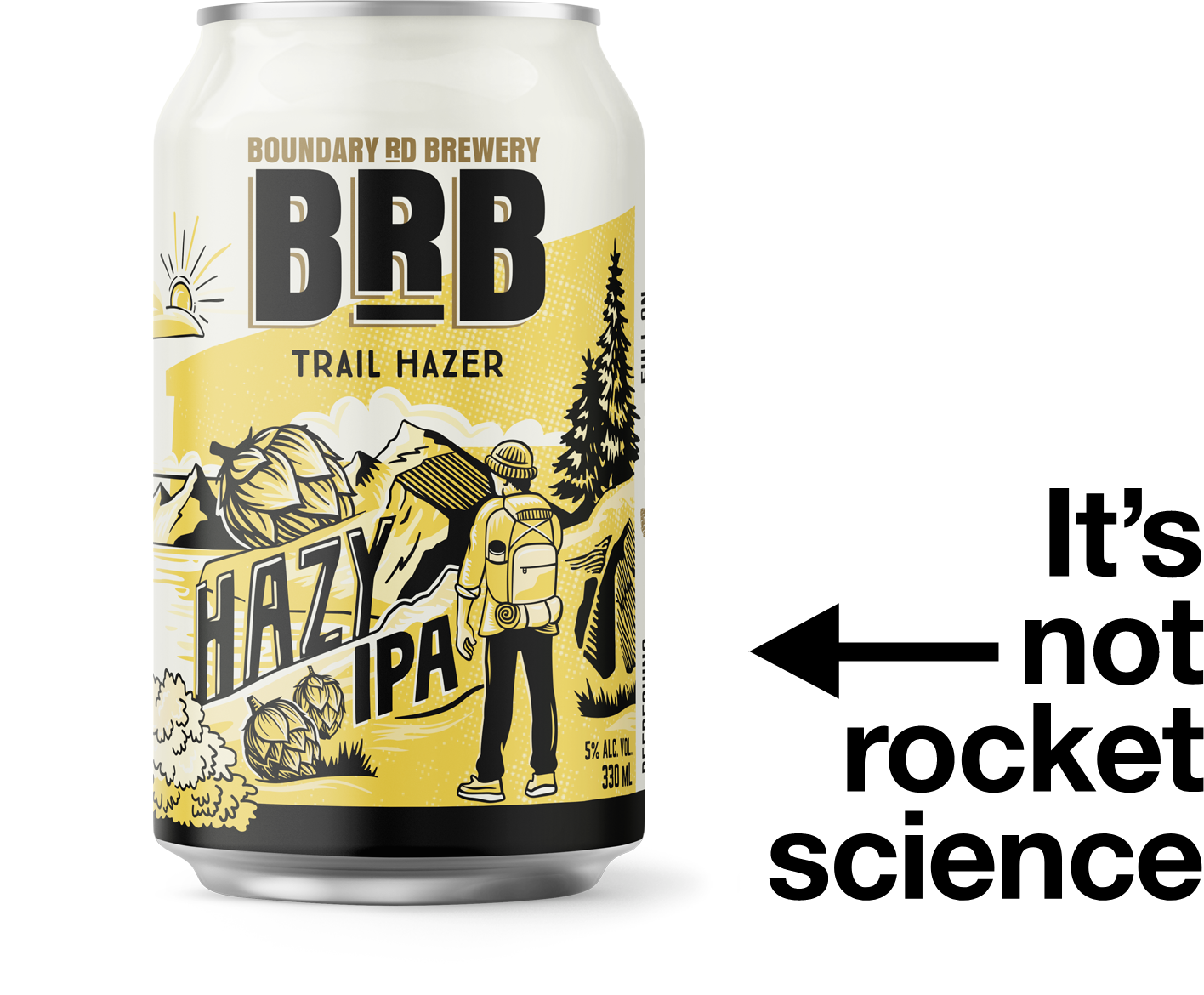 A can of the Trail Hazer Hazy IPA beer. Text reads: it's not rocker science
