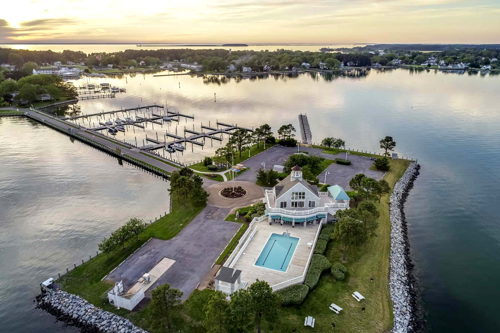 Aerial Shot of Tilghman Island and the Private Yacht Club