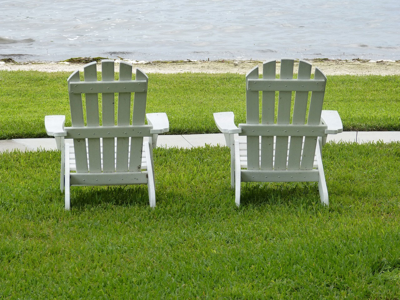 Two White Chairs Viewing Chesapeake Bay