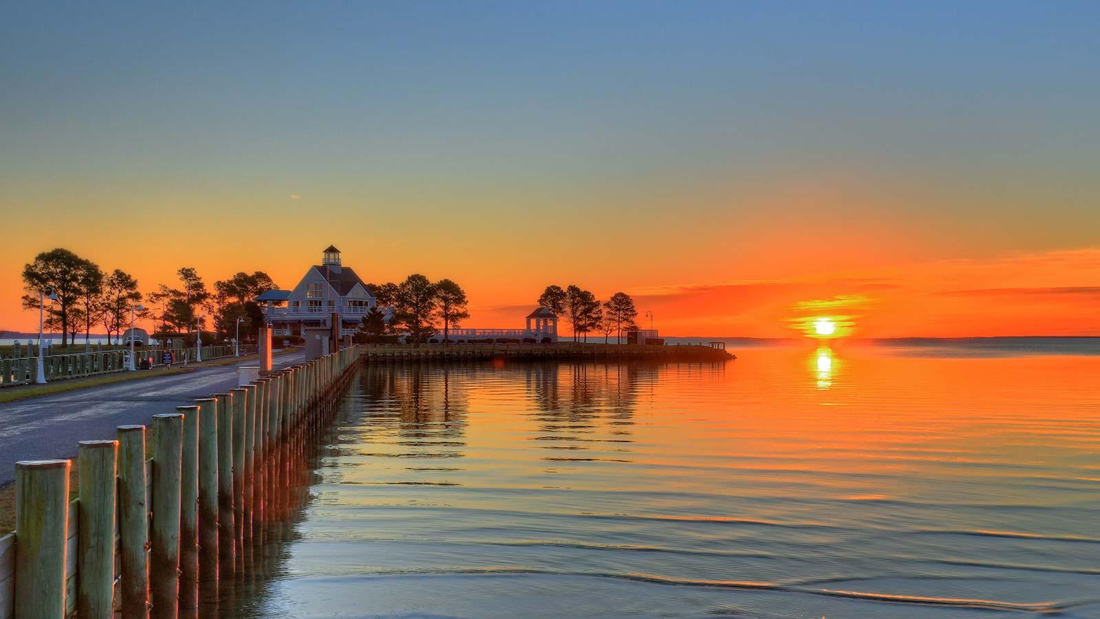 Chesapeake Bay Marina View Over The Sunset