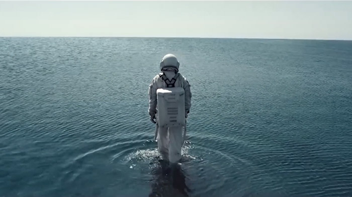Mercado Libre commercial still of astronaut walking  on water