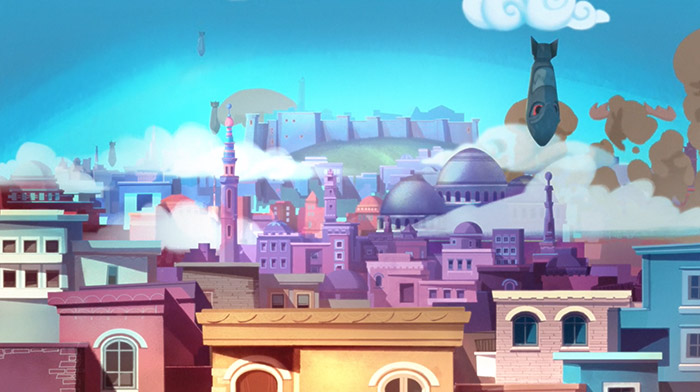 Unicef commercial still of animation depicting bombs falling into a colorful town