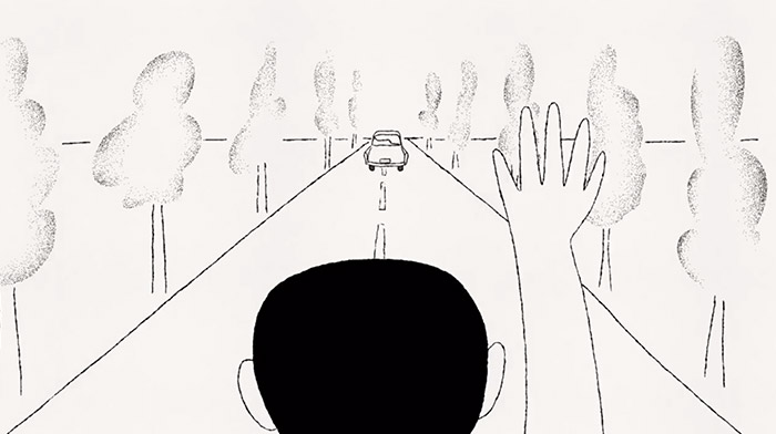Bloomberg commercial still of animation depicting a man waving good bye to a car