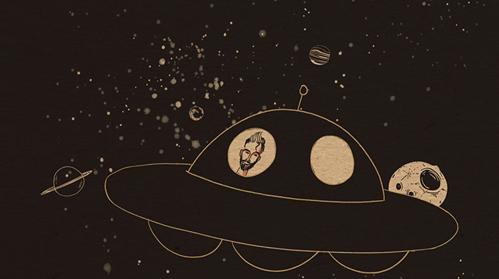 Mailchimp commercial still of animation depicting an UFO floating in space