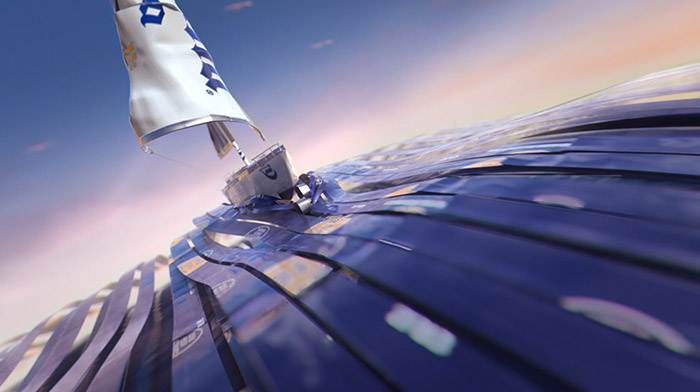 Corona commercial still of animation depicting a sail boat made out of Corona beer cans