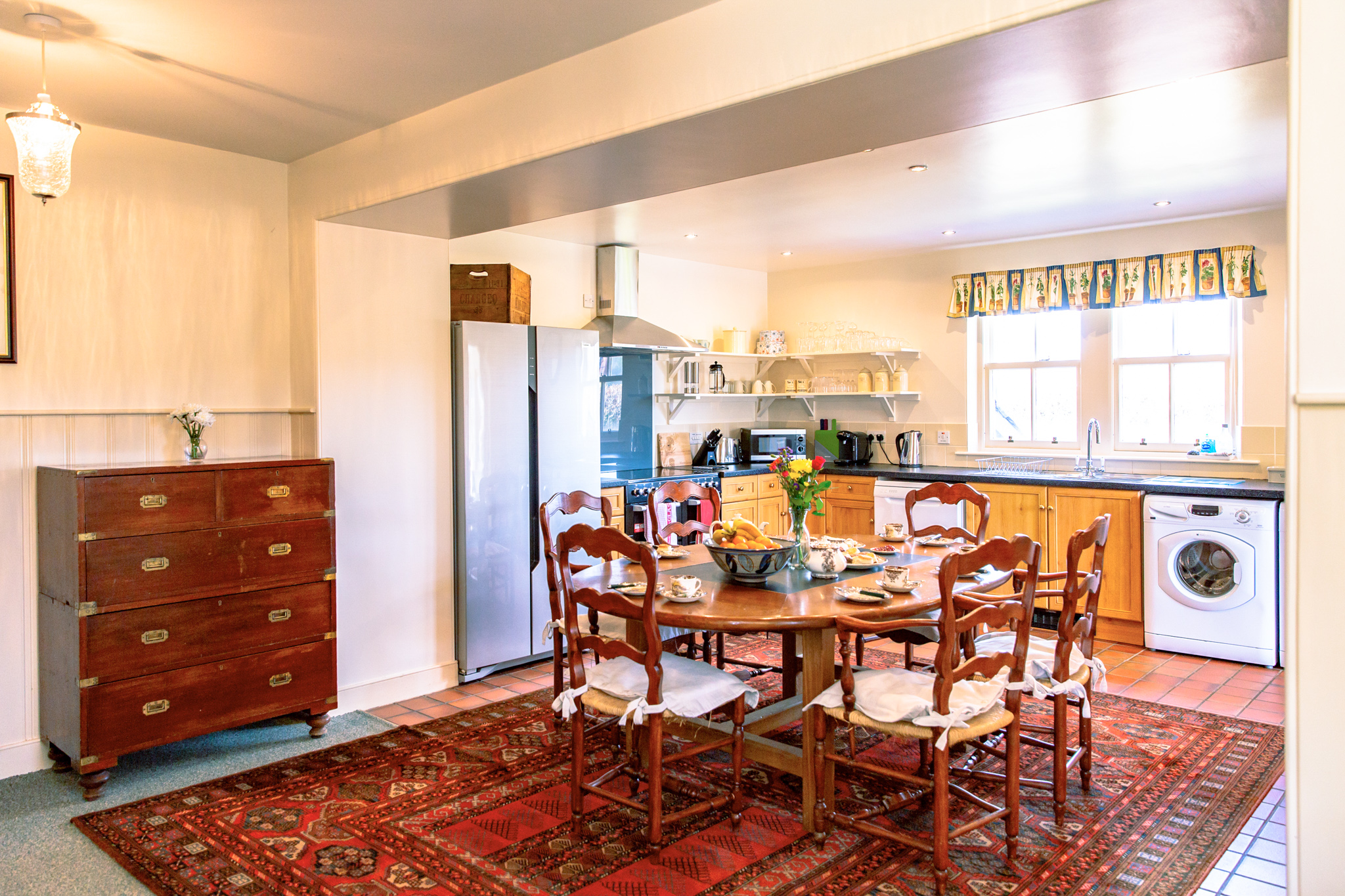 Large family dining room and kitchen.
