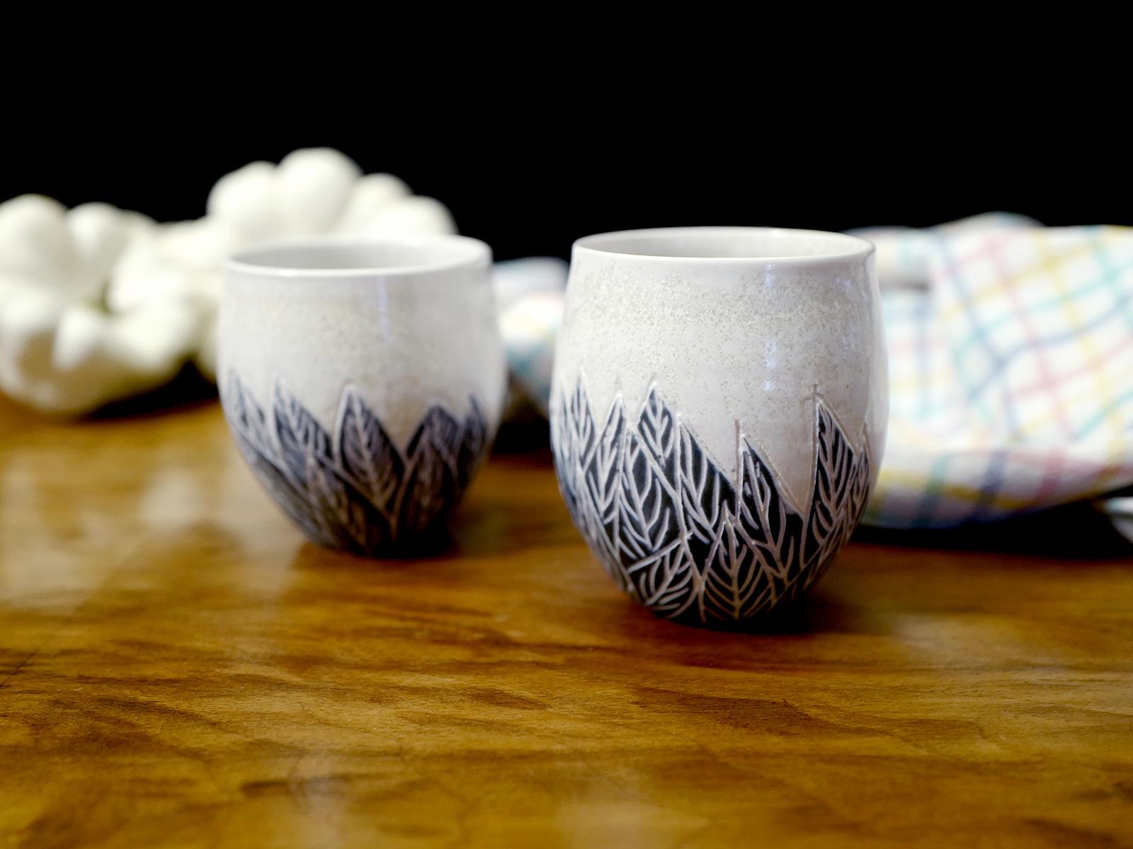 Gobelet à thé plumes x 2