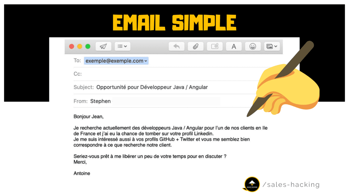 Exemple Email d'une société de recrutement