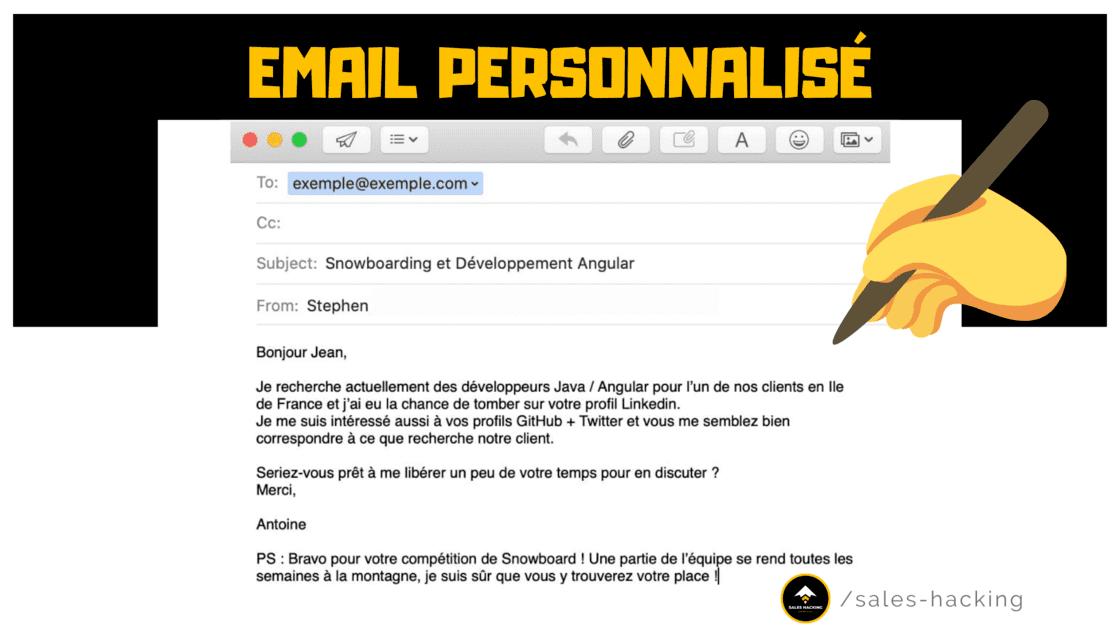Email retravaillé prenant l'exemple d'une société de recrutement