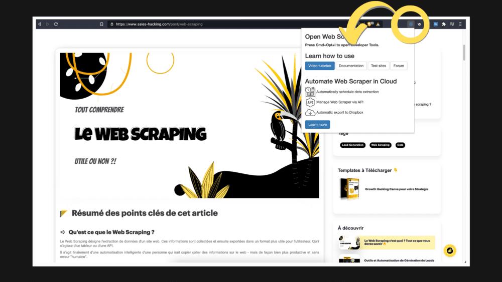 Extension Web scraper
