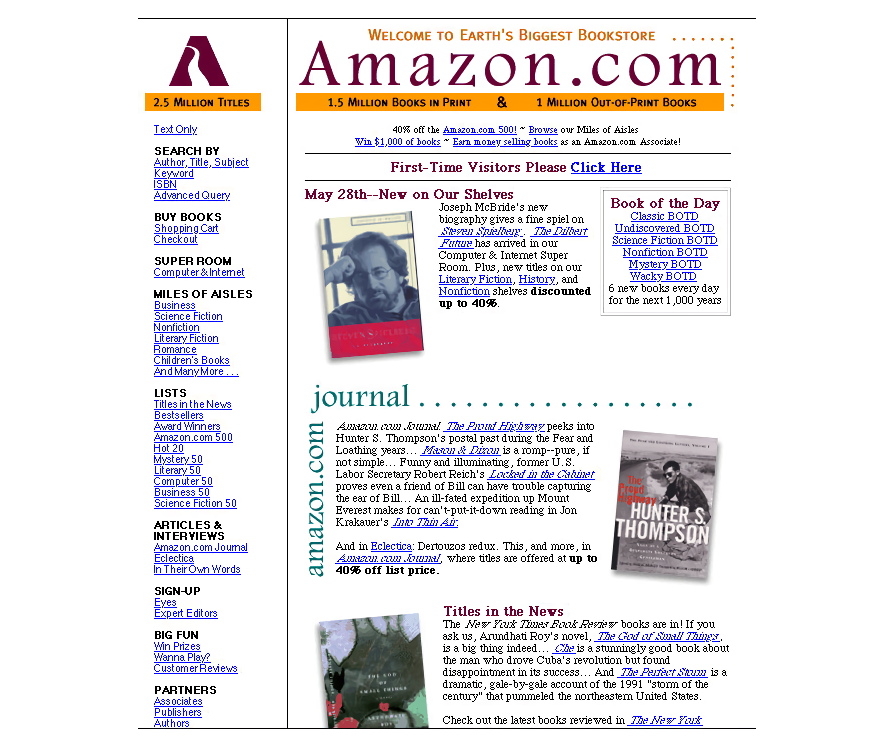 Amazon's page in 1997