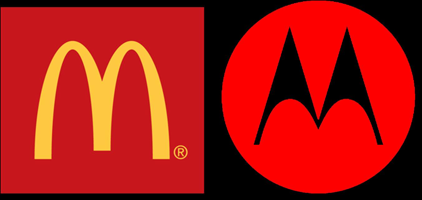 Logos of McDonald's and Motorola