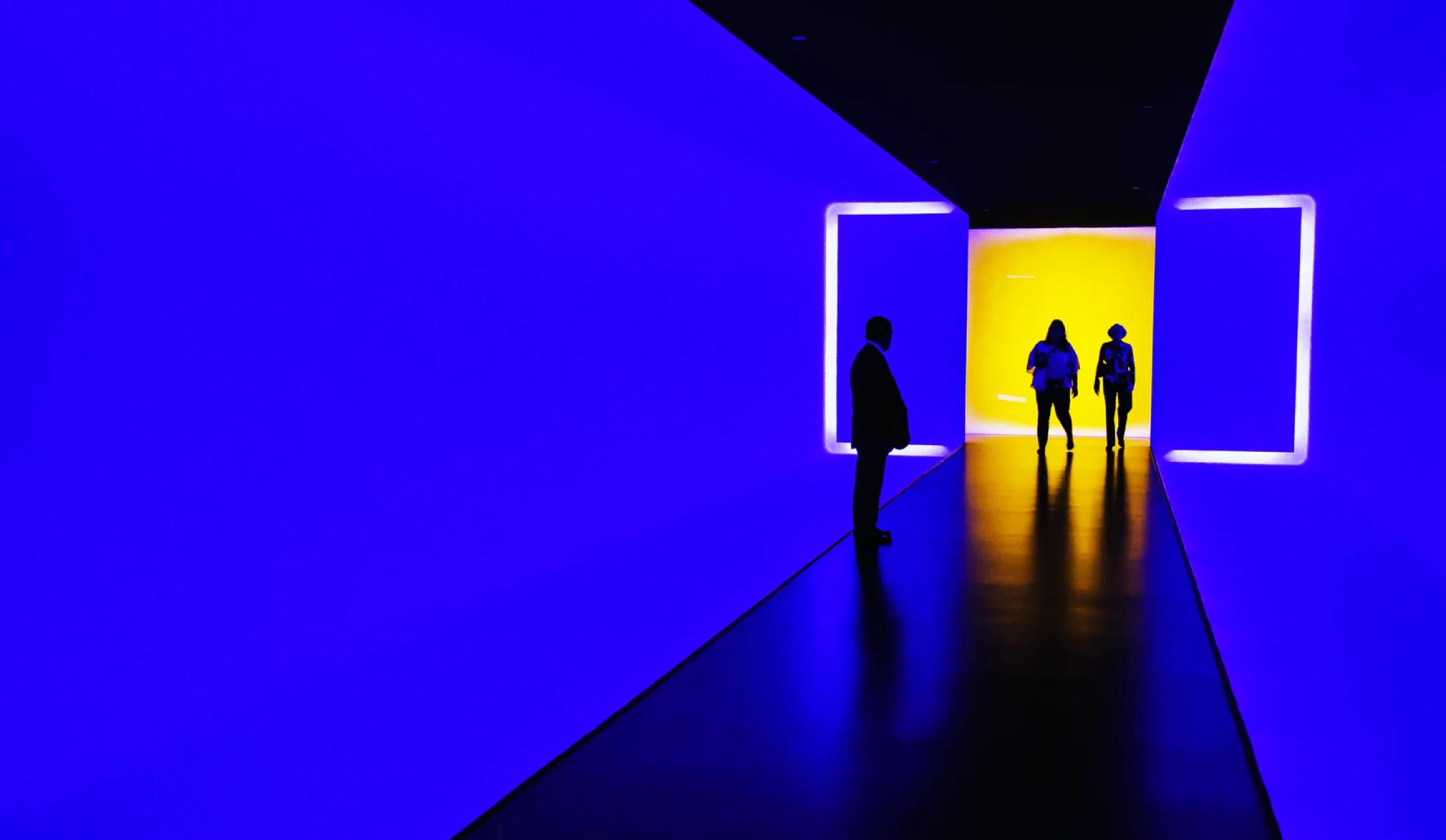Blue futuristic office area