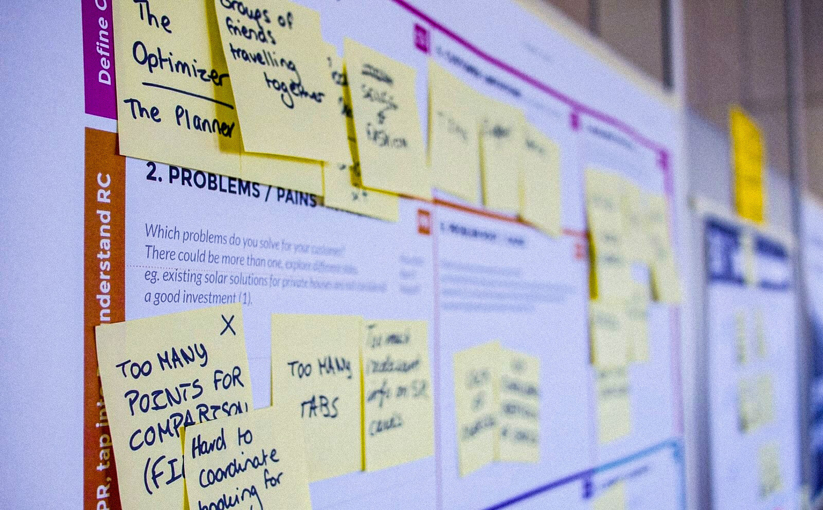 ux ui sticky notes on board