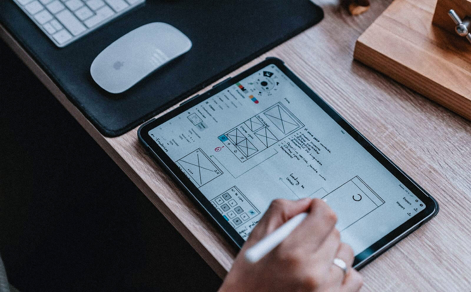 wireframing on a tablet