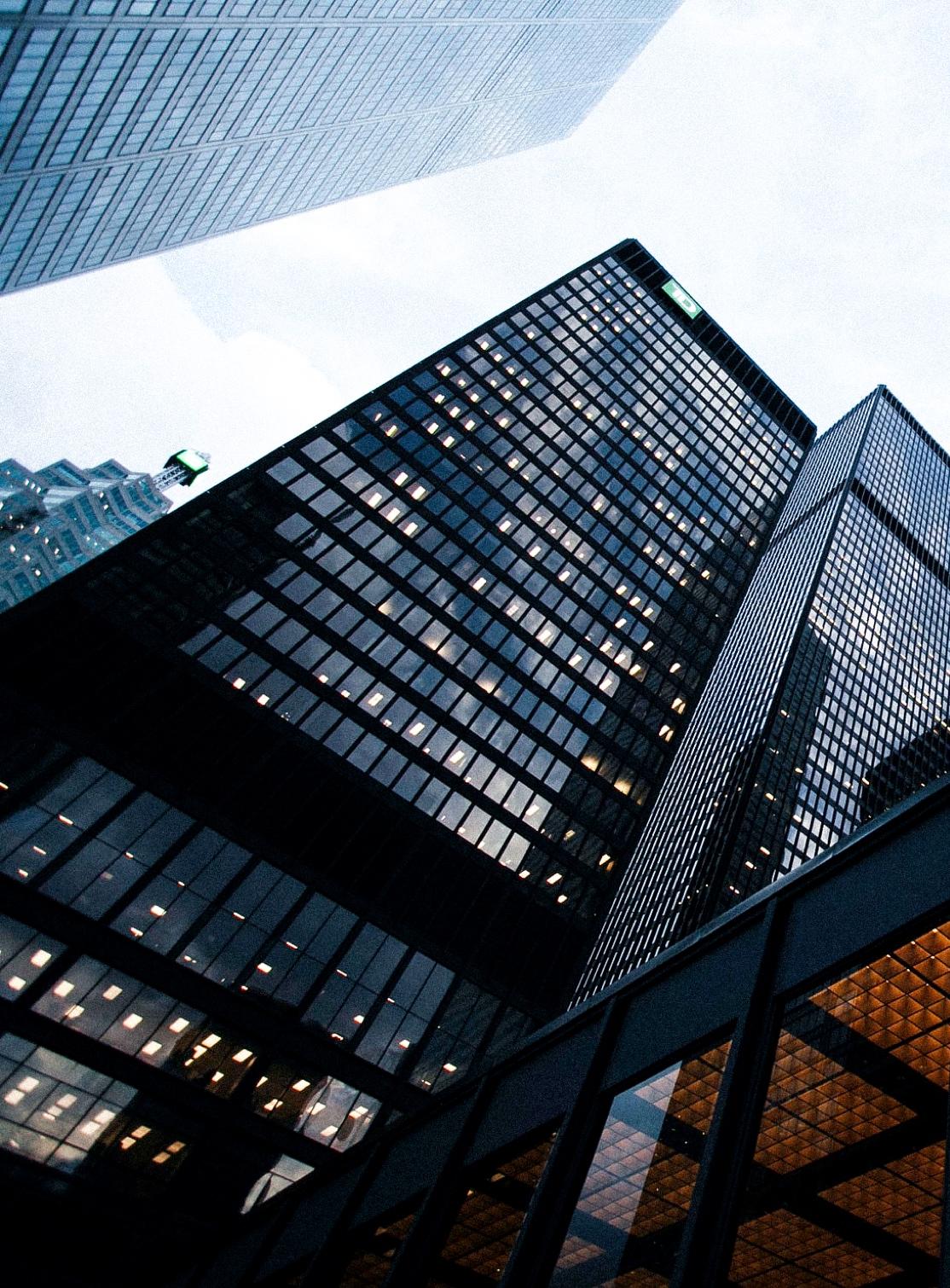 pov perspective on skyscrapper