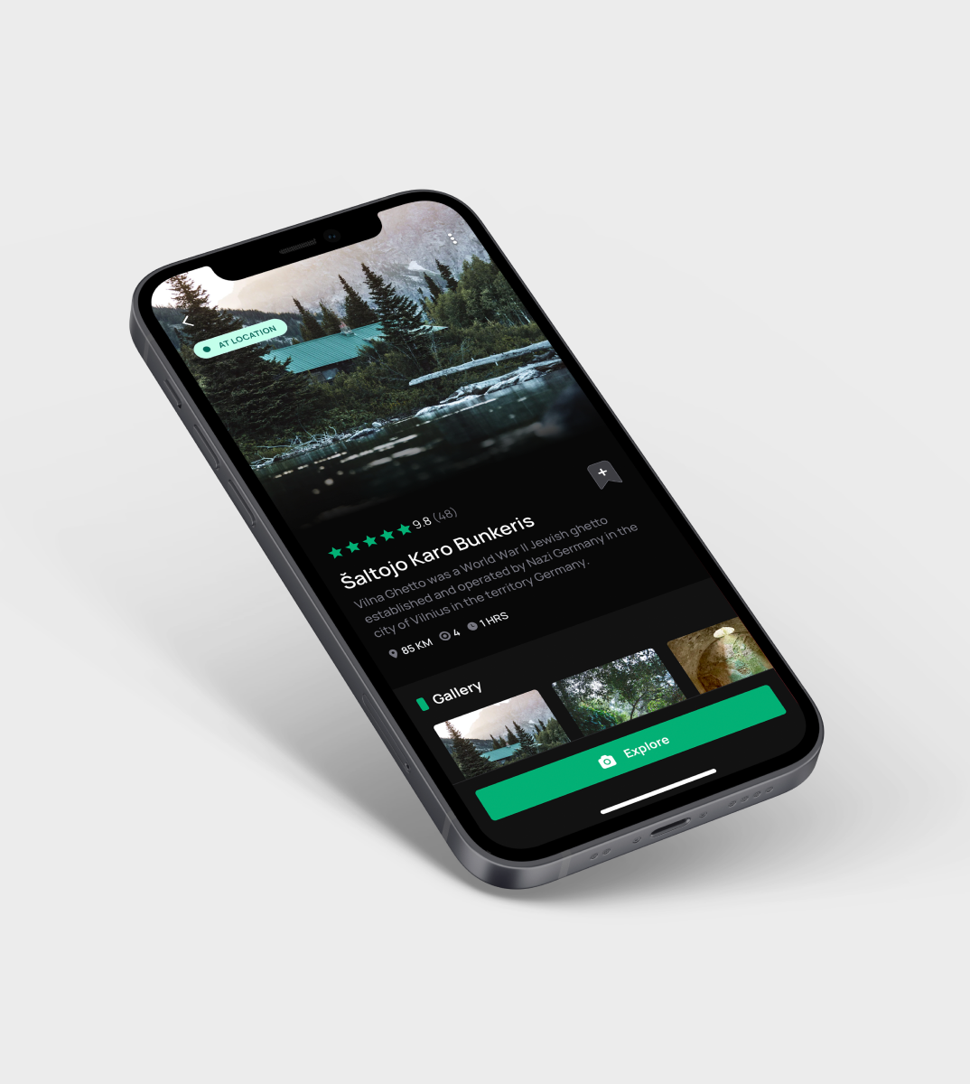 tripsolo mobile phone mockup with open app