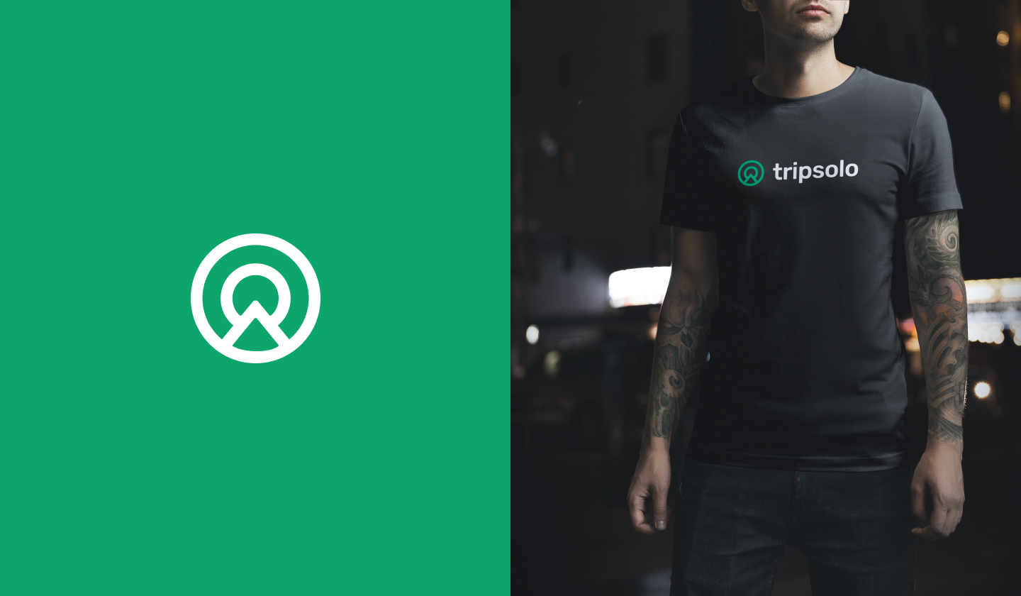 Tripsolo logo on the left and branded tshirt on the right