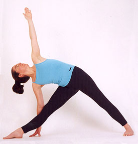 The trikonsana yoga pose (Triangle pose)
