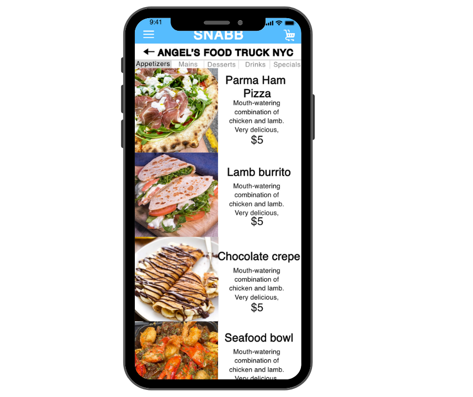 food truck delivery app menu