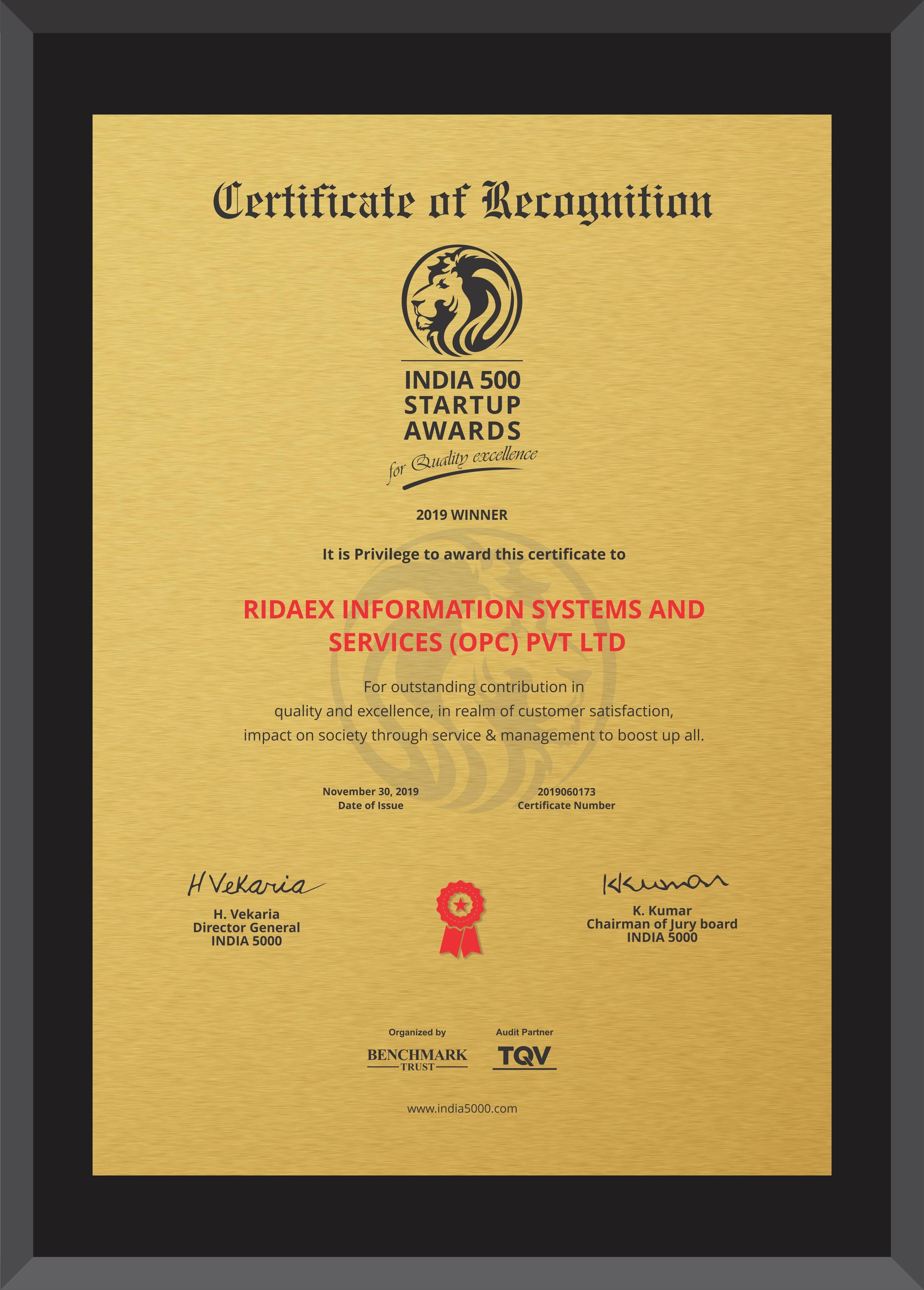 Ridaex India 5000 awards