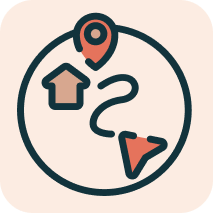 An image of an icon showing housing and travel