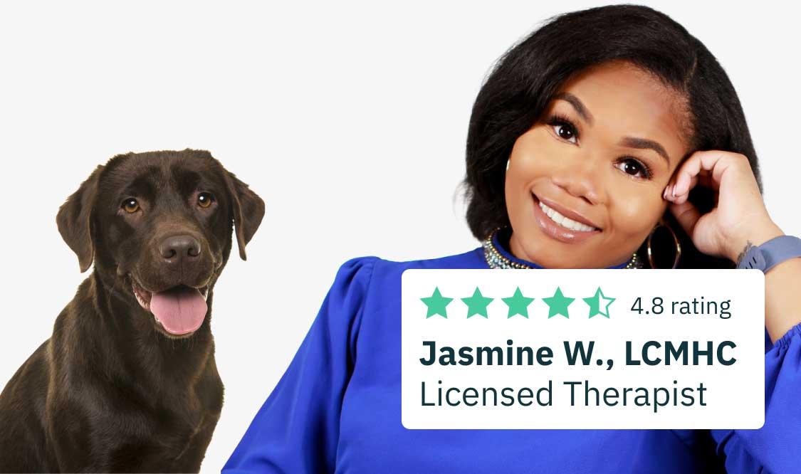 An image of Jasmine and a dog