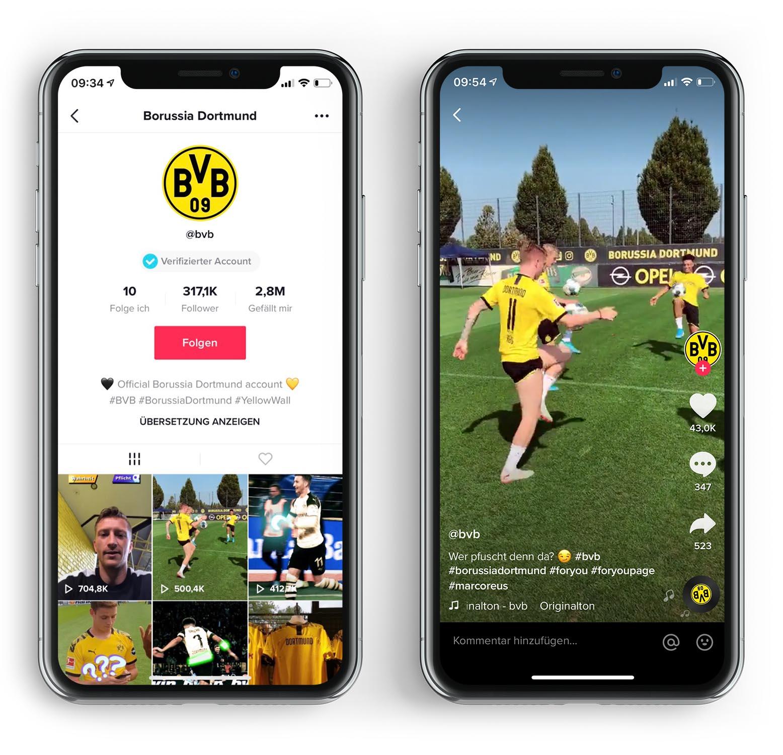 Borussia Dortmund bei Tiktok