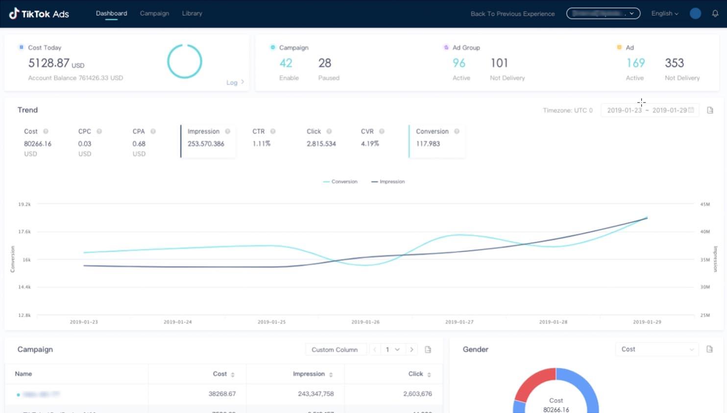 TikTok Self Service Ad Plattform Screenshot