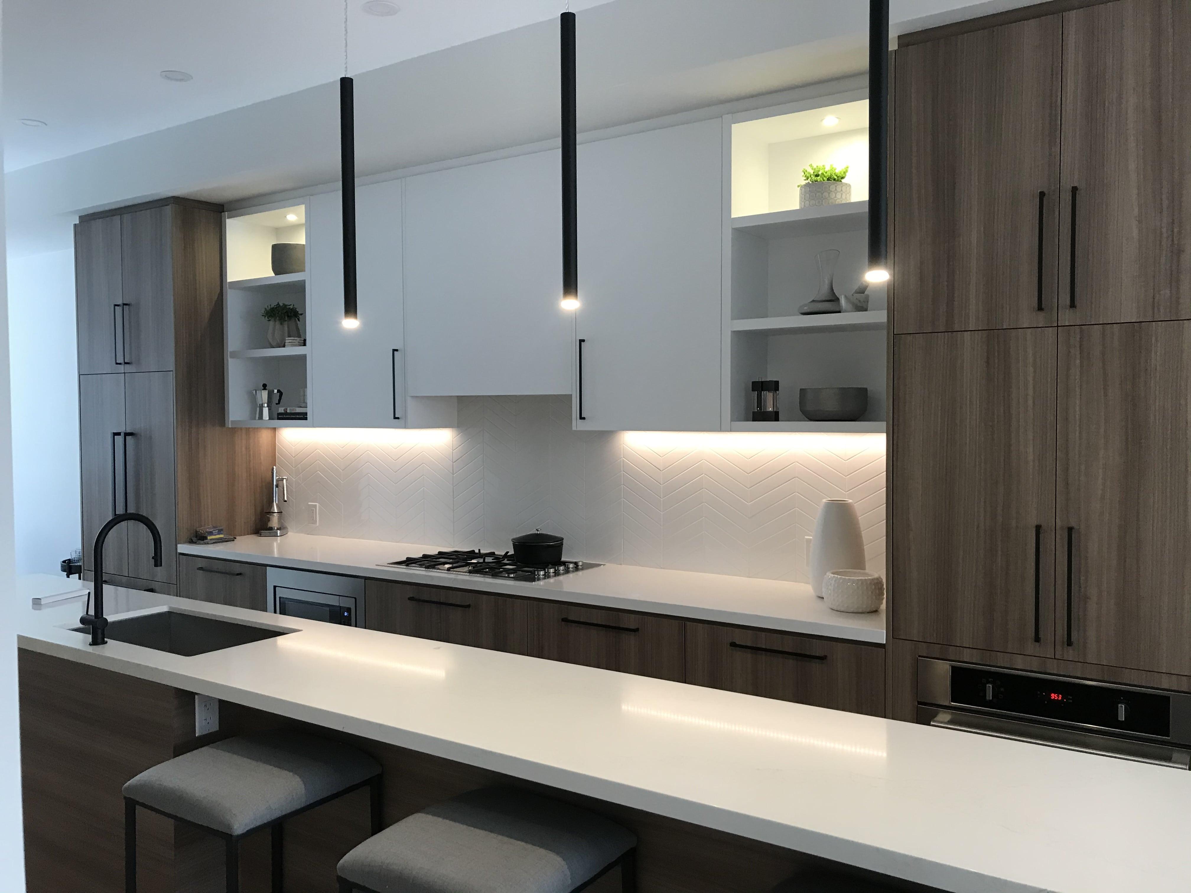 modern white melamine and wood kitchen