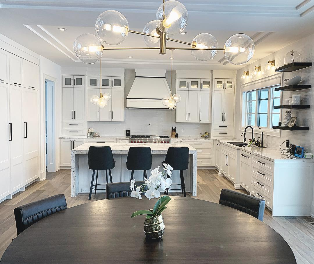 transitional white kitchen with bright lighting