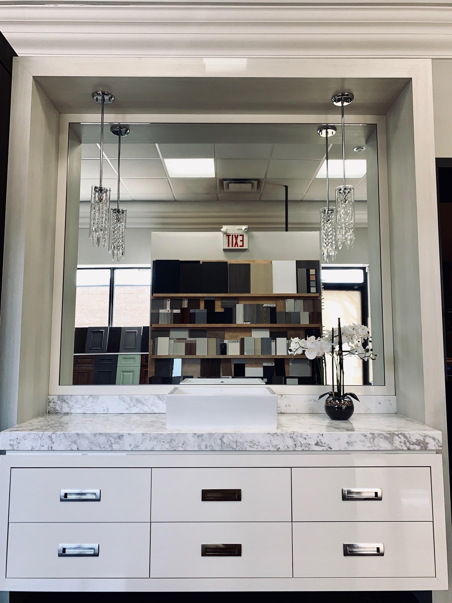 showroom white vanity modern