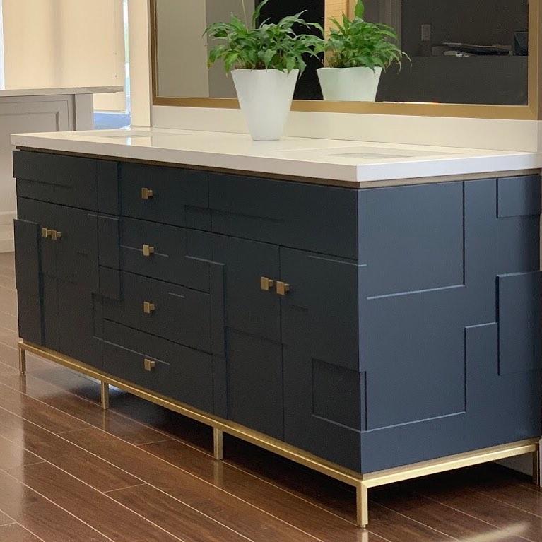 blue panel double sink vanity