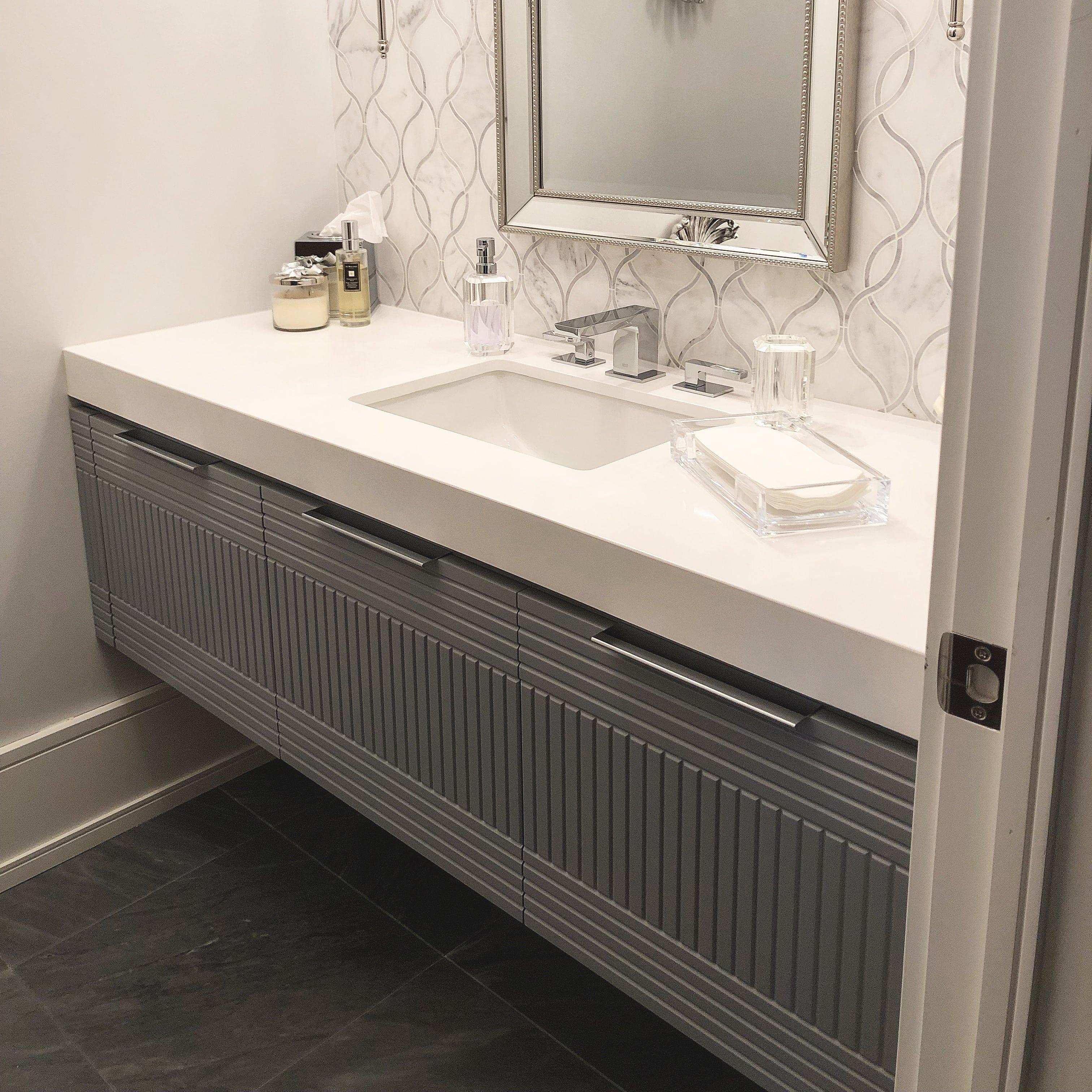 textured grey vanity