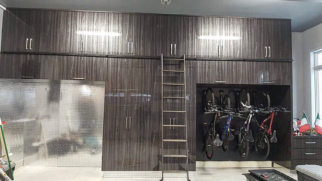 garage storage with hanging bikes